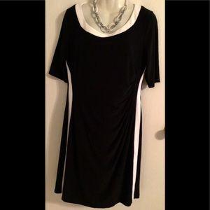 CHAPS black white dress 1/2 sleeve slimming XL 🌹